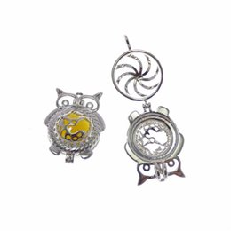 China 8pcs Rhodium Plated owl Cage Jewelry Making Supplies Copper Beads Cage Pendant Essential Oil Diffuser Trendy Locket Gift suppliers