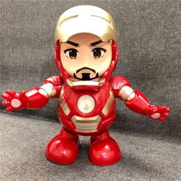 Iron Hero Figure Australia - Dance Hero Iron Man Robot Dancing Iron Man Action Figures LED Flashlight with Sound Avengers Superhero Doll Kids Toys