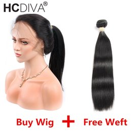 Straight Wigs For Black Women Australia - Lace Front Human Hair Wigs For Black Woman ADD a Weft for Free 130% Density Brazilian Straight Human Hair Lace Frontal Wigs with Bundle