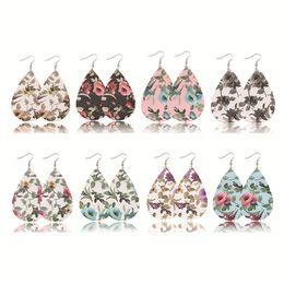 54de440d59f Vintage props online shopping - Bohemian earrings flower Pu leather material  girls fashion earring double side