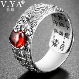 $enCountryForm.capitalKeyWord Australia - V.ya Natural Red Garnet Stone Rings For Men Women 925 Sterling Silver Jewelry Chinese Pixiu Finger Ring Best Christmas Gift T190627
