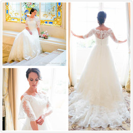 Wedding Dresses Sheer Jacket Australia - 2019 Long Sleeve Wedding Dresses Off-the-shoulder A Line Sheer Neckline Backless Lace Bridal Wedding Gowns Detachable jacket Bridal Gowns