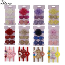 Wholesale 2019 Baby Accessories Set Kids Baby Girl Bow Knot Headband Children Hair Band Head Wear Sequin Photograph Props Gifts