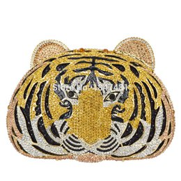 Crystal Heads Australia - Animal full diamond Luxury evening bag Tiger Head Clutch Bag Women Diamante Wedding Purse Bags Crystal Evening SC048