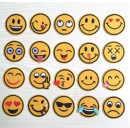 patches badges NZ - Round Face Smile Embroidery Patch Badges Applique Iron on Patches for Clothing Fabric Stickers on Clothes Children Kids Jacket