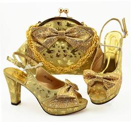 $enCountryForm.capitalKeyWord Australia - Most popular gold women dress shoes with rhinestone and butterfly knot style african pumps match handbag set MM1089,heel 10CM