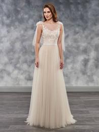 b3c38ce1f Elegante Champagne Tulle Scoop Applique vaina vestidos de novia Vestidos  nupciales Vestidos de boda Vestidos Tamaño personalizado 2-18 KF1219202