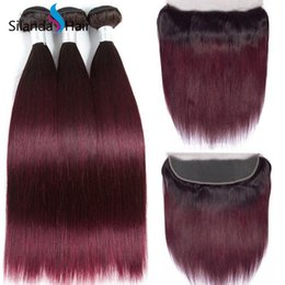 Good ombre weave online shopping - Silanda Hair Good Quality Ombre Color T B J Straight Remy Human Hair Weaves Bundles With X4 Lace Frontal Closure