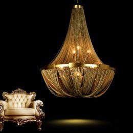 $enCountryForm.capitalKeyWord Australia - Post modern creative LOFT tassel chain living room chandelier restaurant bedroom lamp duplex house villa Lamps lighting