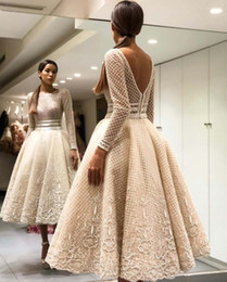 $enCountryForm.capitalKeyWord NZ - Elegant Bige Color Unique Lace Evening Dresses Full Sleeves V-Back Ankle Length Prom Gowns 2019 Robe De Soiree Party Dresses