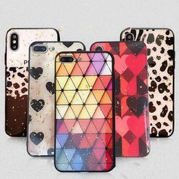 epoxy case 2019 - For iPhone XR Silicone Phone Case Fashion Color Three-dimensional Rhombic Cellphone Shell Epoxy Glitter Gold Foil discou