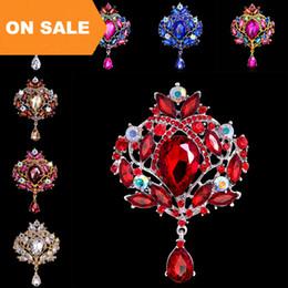 $enCountryForm.capitalKeyWord Australia - Luxury 18K Rhinestone Crystal Flower Water Drop Brooches Pins for women men Brooch Fashion Wedding Jewelry Christmas gift