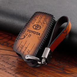 Key cover for toyota rav4 online shopping - Genuine Leather Car Key Cover For Toyota PRADO TERIOS COROLLA CROWN Camry RAV4 Brown Blue Green Handmade