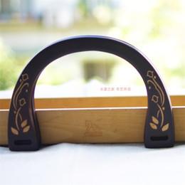 purse frame bag handles 2019 - 19X13 Cm Black With Flower U Shape Wood Bag Handle Obag Purse Frame Wholesale Bag Parts Accessories Obag Classic 2019 Ha