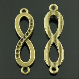 $enCountryForm.capitalKeyWord NZ - 150pcs Charm Infinity Connector Vintage Infinity Charms Pendant For Jewelry Making Antique Bronze Infinity Charms 10x36mm