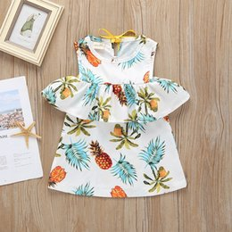 Little Girls Dresses Ruffles Wholesale Australia - Girls Off Shoulder Ruffle Pineapple Dresses Summre 2019 Kids Boutique Clothing 1-4T Little Girls Sleeveless Dresses Special Offer
