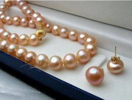 "cultured pearl jewelry set Canada - Women's Wedding shipping>8-9MM Natural Pink Akoya Cultured Pearl necklace earrings set 18"" A106 real silver-jewelry"