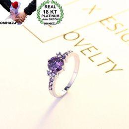 PurPle amethyst white gold ring online shopping - OMHXZJ Personality Fashion Woman Girl Party Wedding Gift White Purple Luxury Zircon KT White Gold Ring RN60