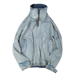 $enCountryForm.capitalKeyWord UK - 2019 Spring and Summer Models Fresh Korean Version of The Young Couple Stitching Casual Stand Collat Denim Sweater Hot Sale