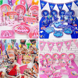 Pack Supplies Australia - Kids Birthday Party Decoration Sets Supply 38 Designs Boys and Girls Unicorn 1st Birthday Party Supplies Cartoon Them Party Pack