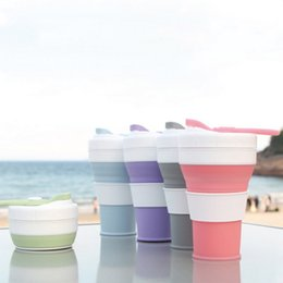 silicone lids for cups 2019 - Portable Silicone Collapsible Travel Cup Lightweight Convenient Reusable Coffee Tea Water Bottle Space-saver For Camping