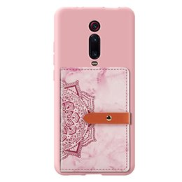 Wholesale marble datura flowers print universal PU leather phone back stick credit card buckle wallet pocket for red mi k20