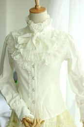 $enCountryForm.capitalKeyWord Australia - White Lace Synthetic Gothic Lolita Blouse for Women Sleeveless Plum Blossom Printed Lolita Dress !