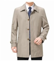 Wholesale Autumn Mens Business Designer Trench Coats Lapel Neck Long Sleeve Outerwear Casual Middleaged And Elder Coats