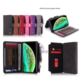 iphone holster card slot 2019 - Multi-Purpose Zipper Phone Holster Wallet Case for iPhone 7 8 Plus X XR XS MAX Removeable Magnet Back Cover with 11 Card