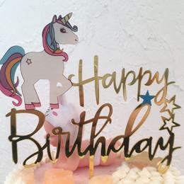 $enCountryForm.capitalKeyWord Australia - Gold Unicorn Acrylic Cake Topper Happy Birthday Cupcake Topper For Children Baby Shower Mermaid Party Cake Decorations