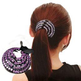 Fashion Crystal Ponytail Holder Rhinestone hair Crab Donut Bud Women s  Hairstyles Hair Claws Girls Bird Nest Updo Hair Grips 44805520c811