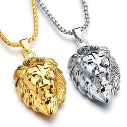 14k Gold Lion Head Pendant Australia - Frigaro Chain Hiphop Lion Head Pendant Necklace For Men Women Jewelry Iced Out Hip Hop Silver Gold Long Necklaces