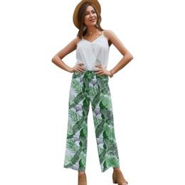$enCountryForm.capitalKeyWord NZ - Women Two Casual Suit Original Design Models 2019 Summer New V-Neck Sleeveless Tops Printing Long Pants