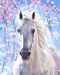 Diy Canvas Prints Australia - 16x20 inches DIY Paint on Canvas by Number Kits Abstract Art Acrylic Oil Painting for Adults Children Spring Racecourse White Horse
