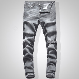 Wholesale jeans grey for sale – denim Grey Jeans Men Slim Fit Denim Solid Color Hip Hop Streetwear Biker Jeans