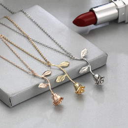lovers gift flower NZ - Fashion Jewelry Collier Pink Gold Rose Statement Pendant Necklace Women's Beauty and Beast Jewelry Lovers Gifts