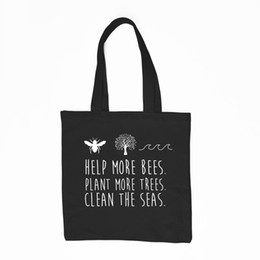 $enCountryForm.capitalKeyWord Canada - Climate Change Save the Bees Shopping Bag Plant More Trees Clean The Seas Reusable Shopping Tote Bag handbag with zipper