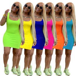 Wholesale Women Summer Mini Dresses Sleeveless Scoop Neck Bodycon Dress Sexy Summer Clothes Pure Color Casual Dresses LJJA2682