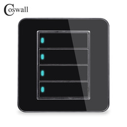 led touch button switch Australia - Manufacturer Coswall Brand 4 Gang 1 Way Random Click Push Button Wall Light Switch With LED Indicator Acrylic Crystal Panel Mirror