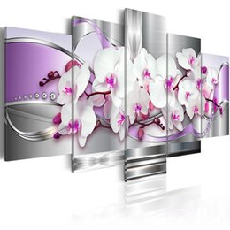 wall art purple canvas frame NZ - 5 Pieces Canvas Photo Prints Purple Orchid Wall Art Picture Canvas Paintings Home Decor pictures for living room Framed PJMT-43