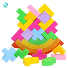 block balance NZ - Baby Toy Wooden Block balance Tetris chopping Blocks table Game Baby Brain Development baby Educational toys gifts for children Y200111