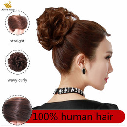 Wholesale 100% Real Human Hair Chignon Extensions Elastic Band Scrunchie Updo Hair Pieces Donuy Chignon Curly Hair Topknot