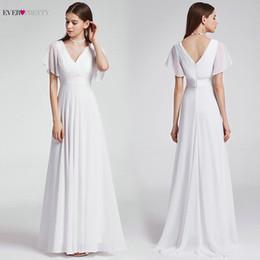 $enCountryForm.capitalKeyWord NZ - Ever Pretty Cheap Chiffon Wedding Dress Elegant A Line V Neck Flare Sleeve Long Beach Bridal Gown Robe De Mariee Ep09890wh Q190522