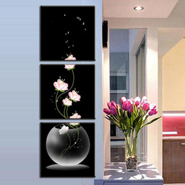 Modern Art Australia - 3pcs set Unframed Vase with Flowers Canvas Porch Corridor Frameless Vertical Home Decoration Wall Paintings Modern Art Decor