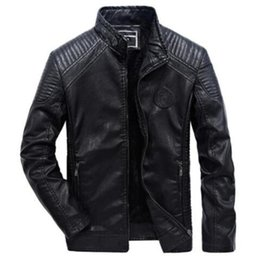 6xl motorcycle Australia - Leather Jacket Men Casual Slim Fit Pu Biker Motorcycle Leather Jackets Mens Fashion Plus Size 5XL 6XL Warm Stand Collar Coats T191019
