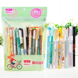 $enCountryForm.capitalKeyWord Australia - 50pcs lot 1lot Is 1bag Korea Lovely Cute Blue Ink Gel Pen for Student School Pens Writing Stationery 0.38 0.35 0.5mm Together