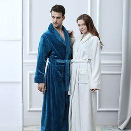 Extra Long Plus Size Winter Thick Warm Flannel Coral Fleece Waffle Kimono Bathrobe Men Women Luxury Dressing Gown Male Bath robe on Sale