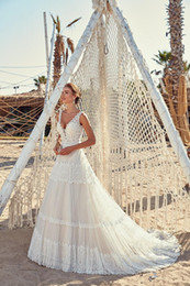 pnina tornai long sleeve lace Australia - 2019 New Pnina Tornai A Line Wedding Dresses V Neck Backless Boho Wedding Bridal Gowns Sweep Train Plus Size abiti da sposa