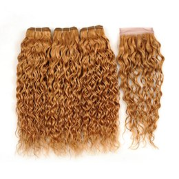 Strawberry blonde color online shopping - Strawberry Blonde color Hair Weaves With Lace Closure Water Wave Human Hair Weft Extension With Wet Wavy Bundles With Lace Closure