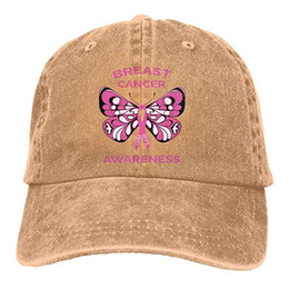 2019 New Wholesale Baseball Caps Breast Cancer Awareness Butterfly Mens  Cotton Adjustable Washed Twill Baseball Cap Hat dad934ffee13